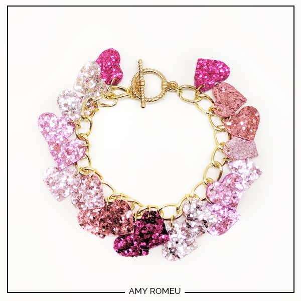 glitter heart charm bracelet