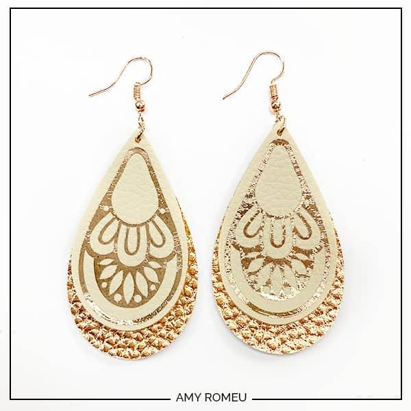 Boho Jewelry Leather Earrings Leather and Denim Earrings Boho Earrings Double Leaf Earrings. Leather Leaf Earrings