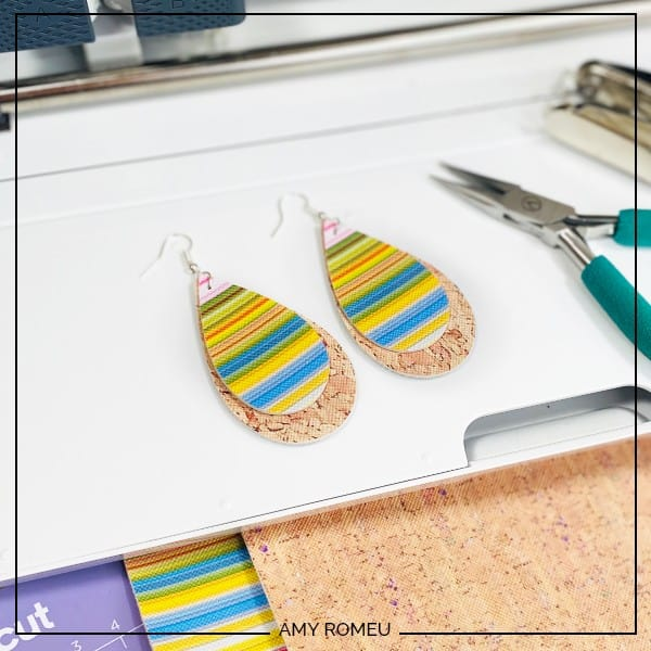 Faux Leather Serape Earrings Made with a Cricut Maker