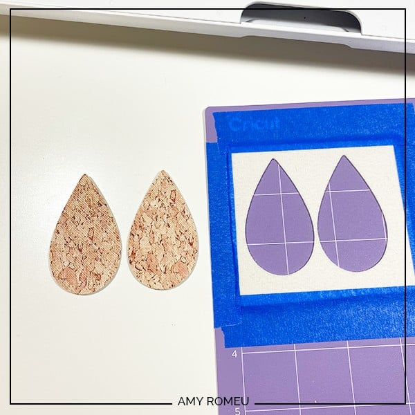 how to make faux leather earrings with a Cricut Maker tutorial - cutting faux leather shapes