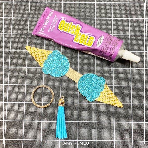 gluing cricut ice cream cone keychain back to front