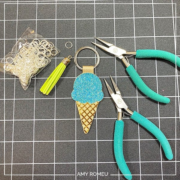 attach a tassel to a cricut faux leather keychain