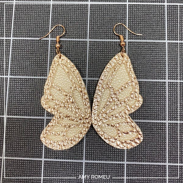 Cricut faux leather butterfly earrings