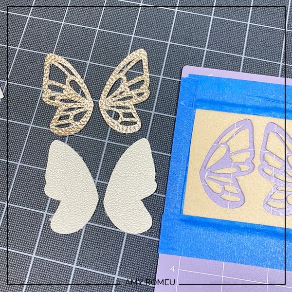 faux leather butterfly earrings Cricut cut shapes