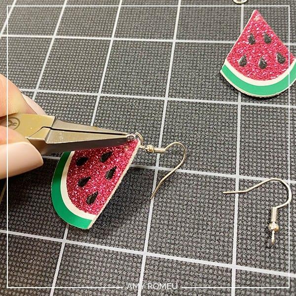 putting earring hooks on watermelon earrings