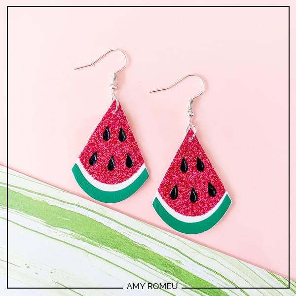 DIY Watermelon Earrings Made with a Cricut Maker