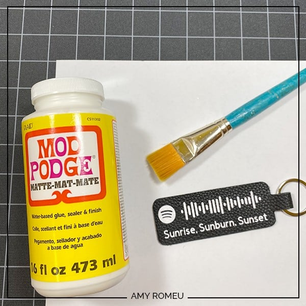 sealing faux leather keychain with mod podge