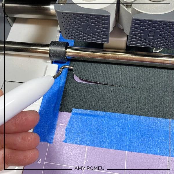 checking faux leather cut on Cricut cutting mat