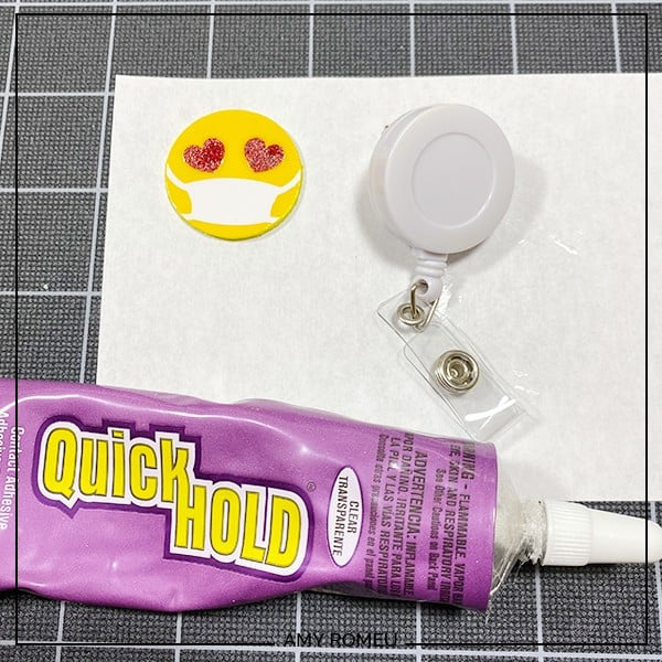 using quick hold glue to glue badge reel cover