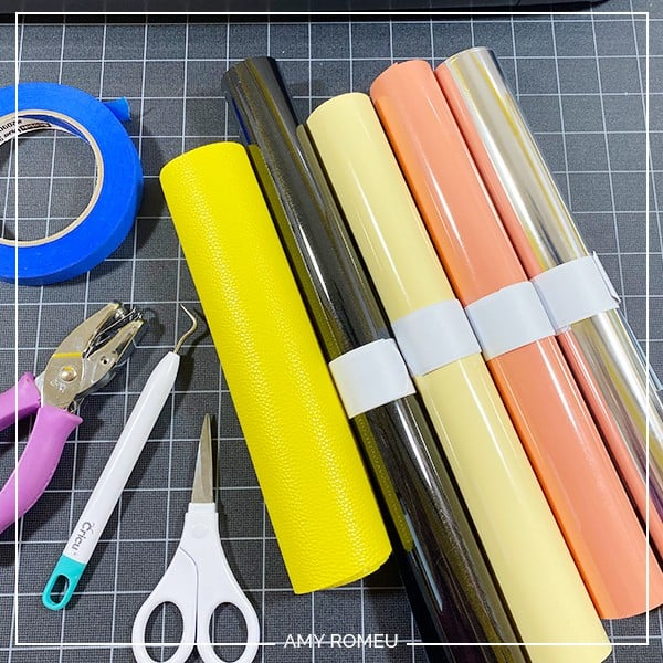 faux leather and heat transfer vinyl materials needed for pencil keychain