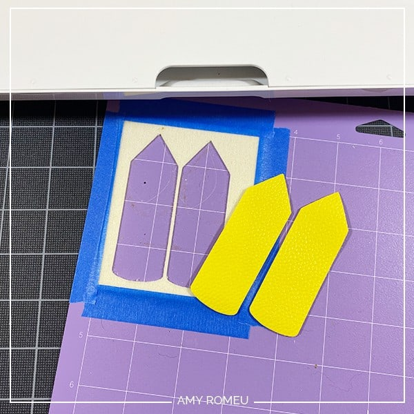 pencil keychain shapes removed from Cricut cutting mat