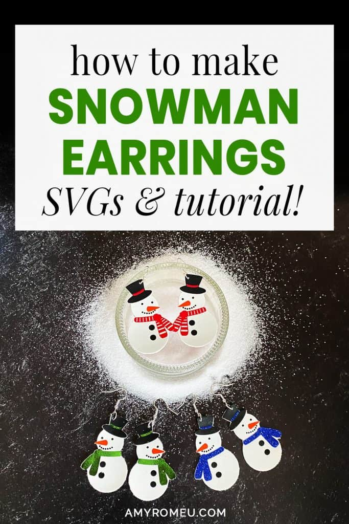 Cricut faux leather snowman earrings