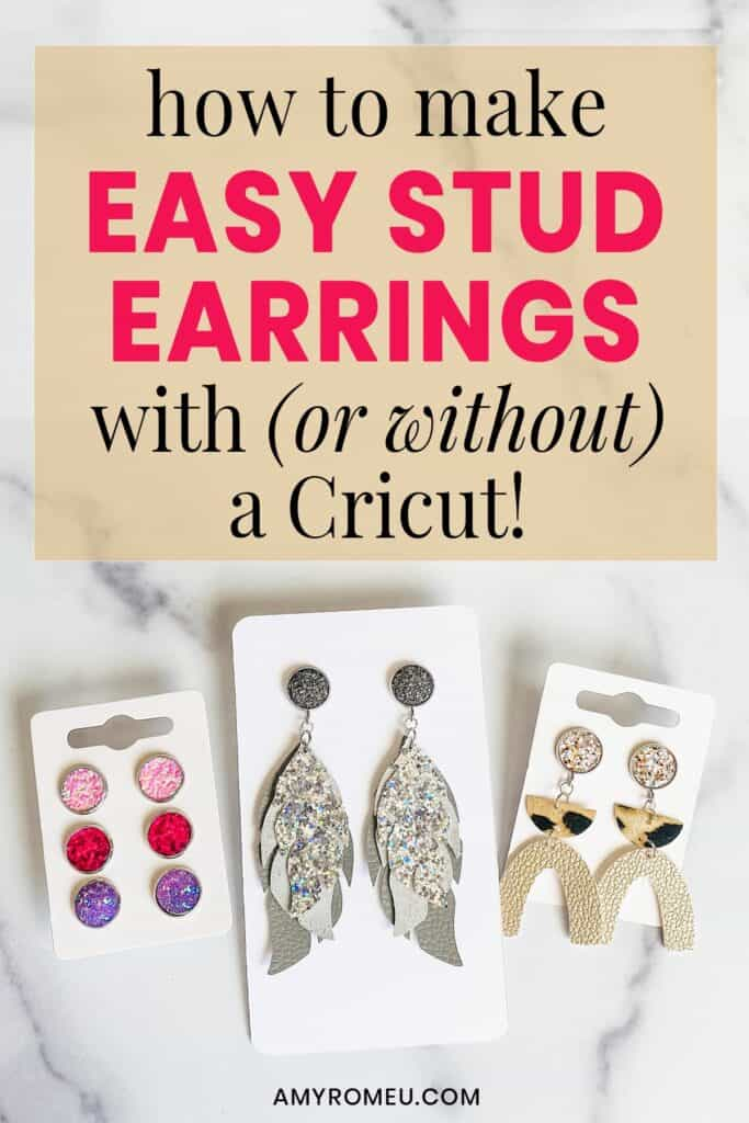 faux leather stud earrings on earring cards