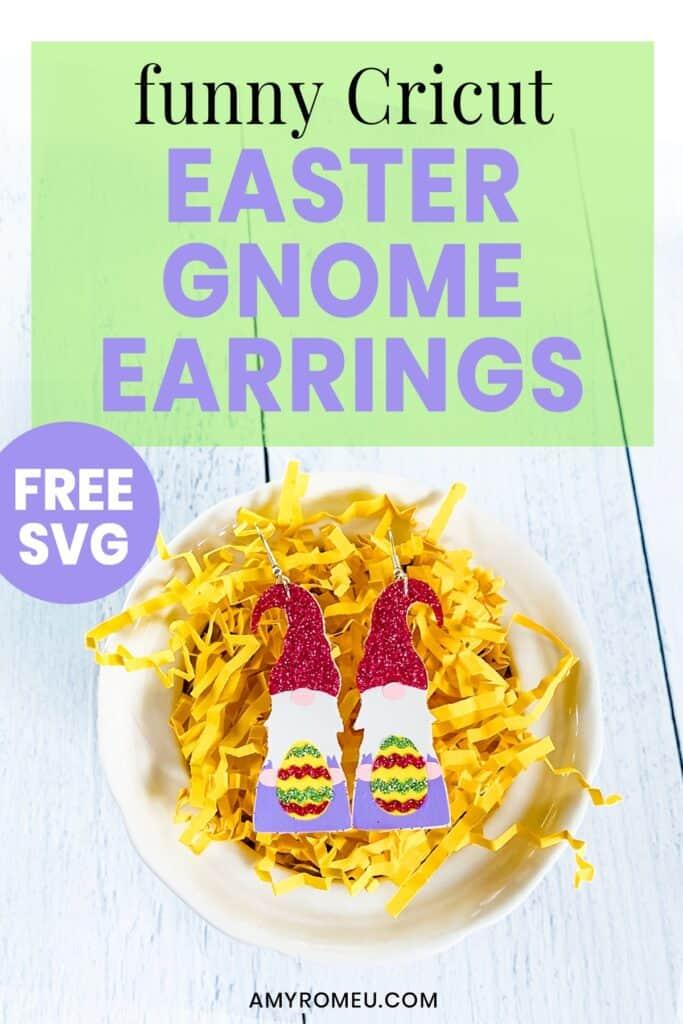 Funny Cricut Easter Gnome Earrings