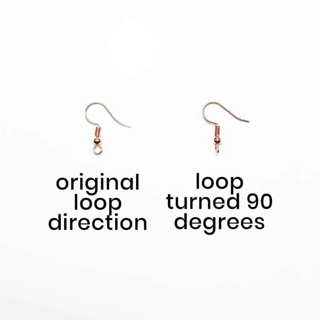 earring hook loops turned 90 degrees