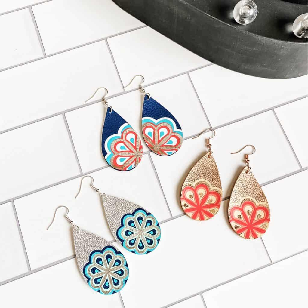 faux leather mandala earrings
