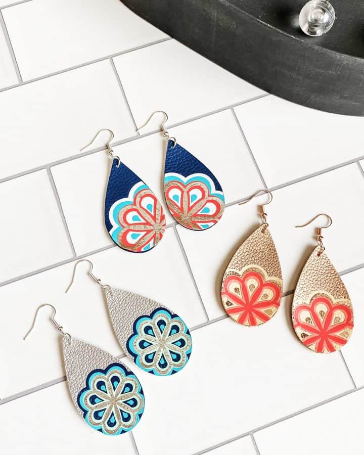 faux leather mandala earrings