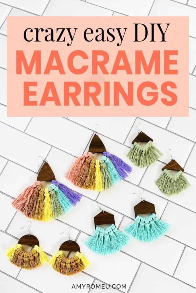 multicolored macrame cord wood earrings