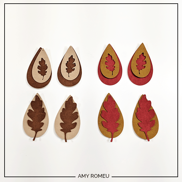 faux suede fall leaf earring shapes ready for earring hooks