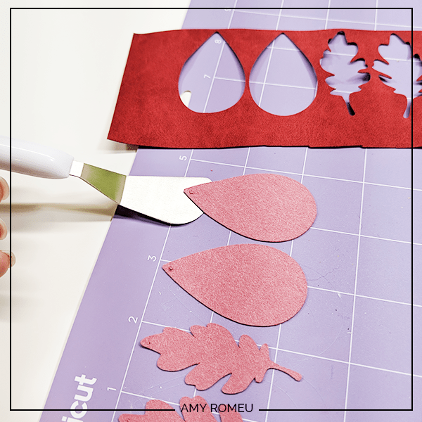 removing faux suede earring shapes from cricut cutting mat