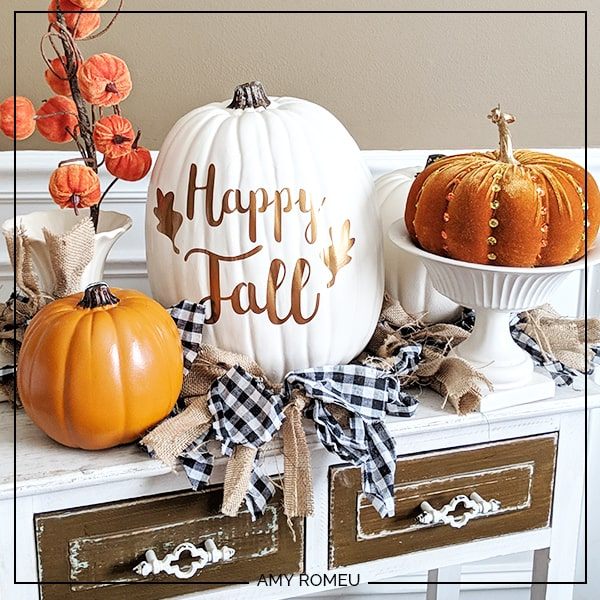 decorated faux pumpkins for fall decor